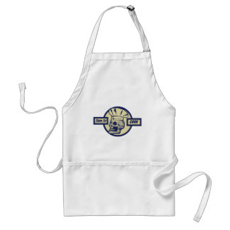 Time to Cook - Butter Yellow & Dark Blue Graphic Standard Apron