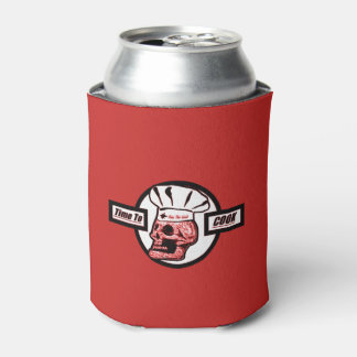 Time To Cook -Red/Black/White Can Cooler
