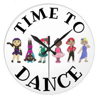Time to Dance Ballet Tap Jazz Acro Studio School Large Clock