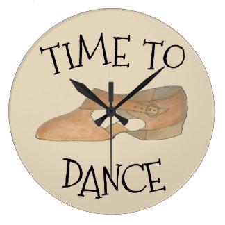 Time to Dance Tan Modern Lyrical Shoe Studio Gift Large Clock