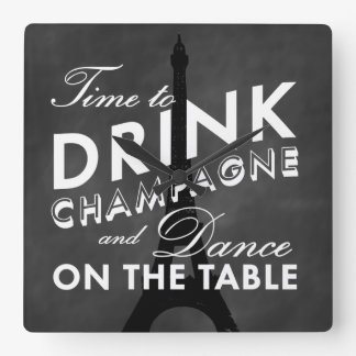 Time to Drink Champagne Eiffel Tower Wall Clock