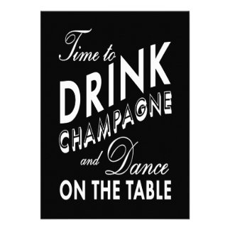Time to Drink Champagne Holiday Invite black