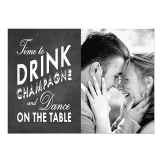 Time to Drink Champagne Holiday Photo Card