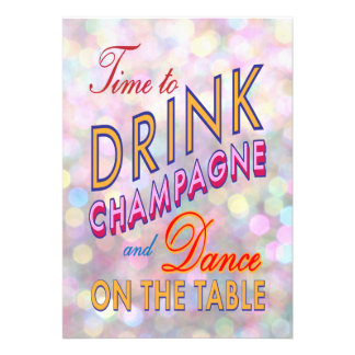 Time to Drink Champagne in Color Holiday Invite