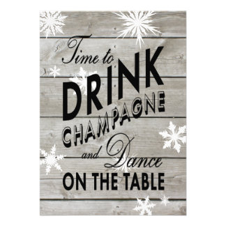 Time to Drink Champagne on Barn Board Xmas Invite