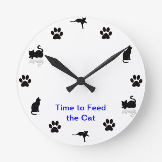 Time to feed the cat round clock