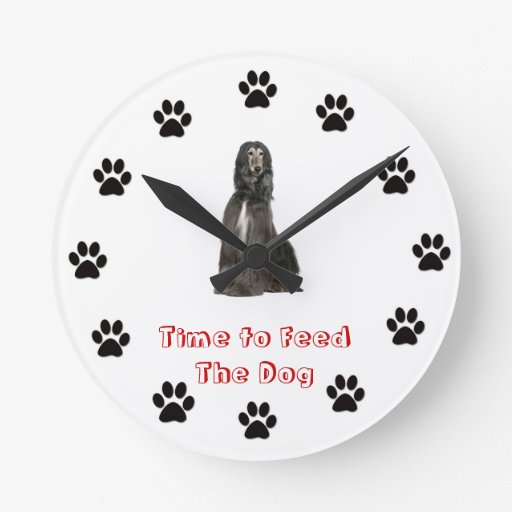 Time to feed the dog Afghan Hound Wall Clocks