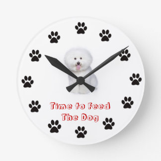 Time to feed the dog Bichon Frise Wall Clocks