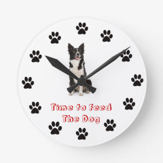 Time to feed the dog Border Collie Round Clock