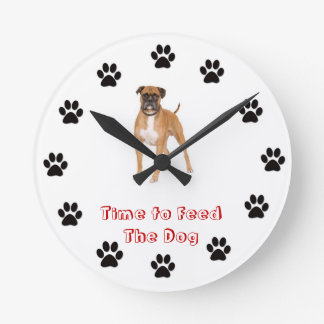 Time to feed the dog boxer wallclock