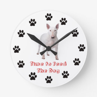 Time to feed the dog Bull Terrier Wall Clocks