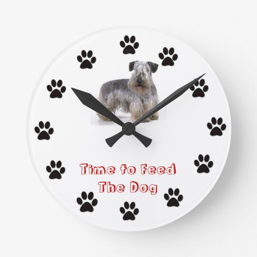 Time to feed the dog Cesky Terrier Wall Clocks