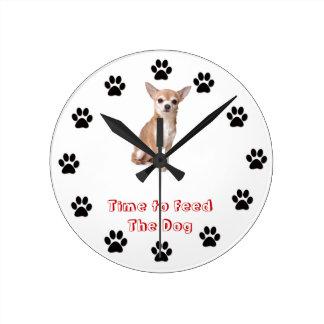 Time to feed the dog Chihuahua Clocks