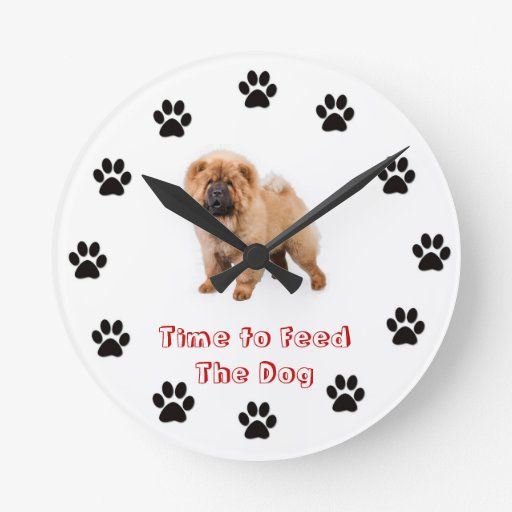 Time to feed the dog Chow chow Clocks