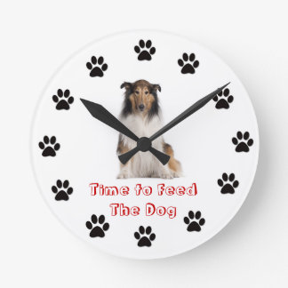 Time to feed the dog Collie Round Wallclocks