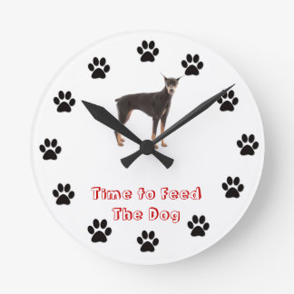 Time to feed the dog Doberman Pinscher Round Clock