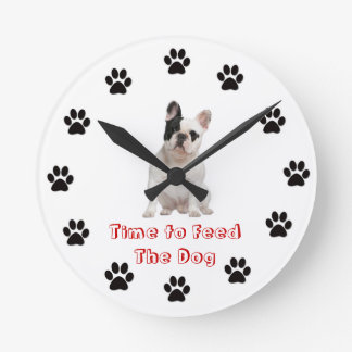 Time to feed the dog French Bulldog Wall Clocks