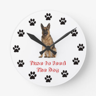 Time to feed the dog German Shepherd Round Clock