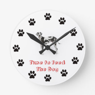 Time to feed the dog Great Dane Wallclocks