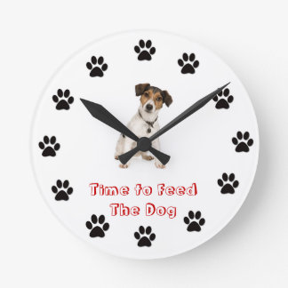 Time to feed the dog Jack Russell Terrier Round Clock