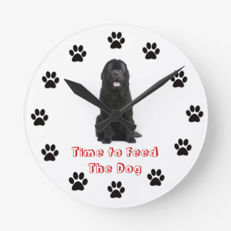 Time to feed the dog Newfoundland Wall Clock