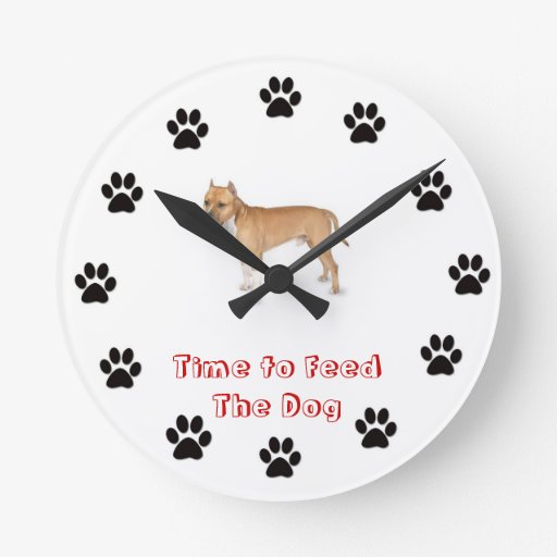 Time to feed the dog Pitbull Wall Clock