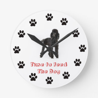 Time to feed the dog Poodle Wallclocks