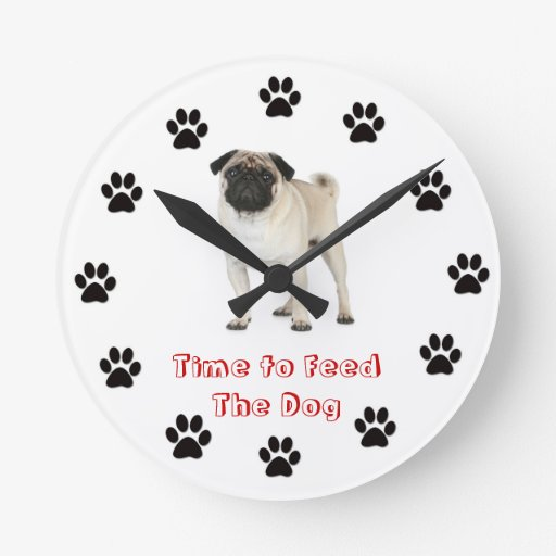 Time to feed the dog Pug Clock