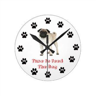 Time to feed the dog Pug Clocks