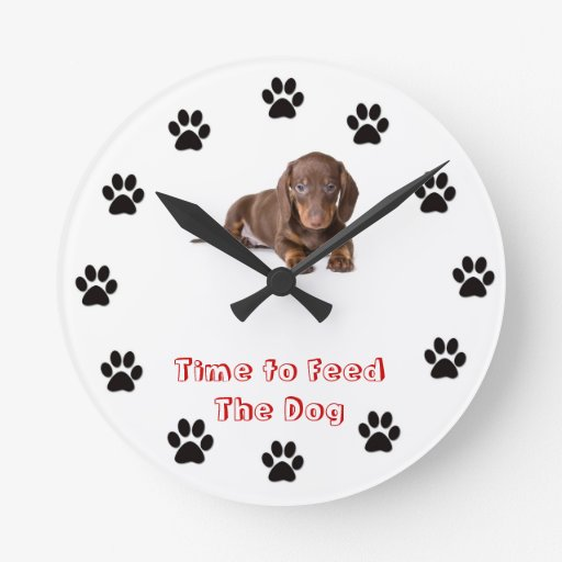 Time to feed the dog round clocks Dachshund