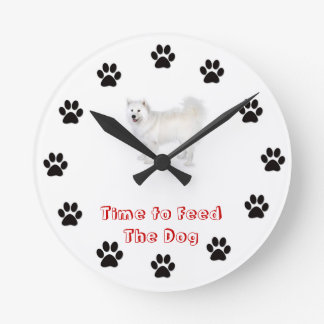 Time to feed the dog Samoyed Wall Clocks