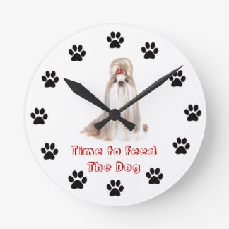 Time to feed the dog Shih Tzu Round Clock