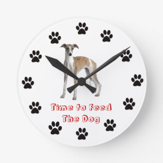 Time to feed the dog Whippet Wallclock