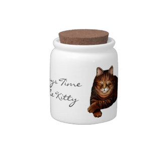 Time to Feed the Kitty Cat Treat Jar Candy Dish