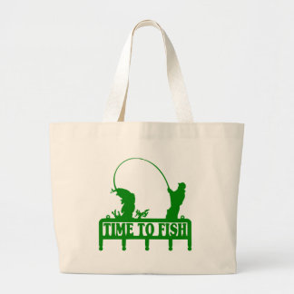Time To Fish Large Tote Bag