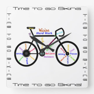 Time to go Biking, Bikes with Motivational Word Square Wall Clock