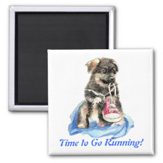 Time to Go Running Cute Dog & Sport Humor Square Magnet