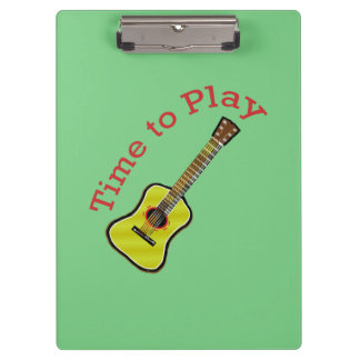 Time to Play Acoustic Guitar - Green Background Clipboard