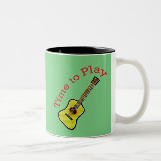 Time to Play Acoustic Guitar - Green Background Coffee Mugs