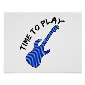 Time To Play Electric Guitar - Custom Background Print
