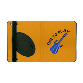 Time To Play Electric Guitar - Orange Background iPad Covers