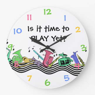 Time to Play Musical Instruments Large Clock