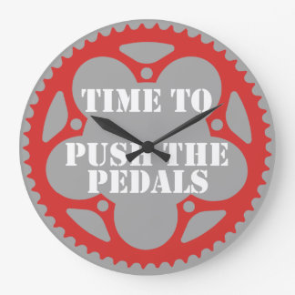 Time To Push The Pedals Large Clock