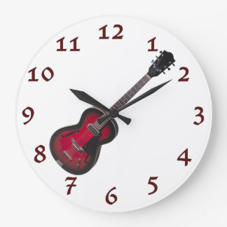 Time To Rock Vintage Red Guitar Large Clock