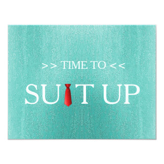 Time to Suitup Blur Background Red Tie 11 Cm X 14 Cm Invitation Card