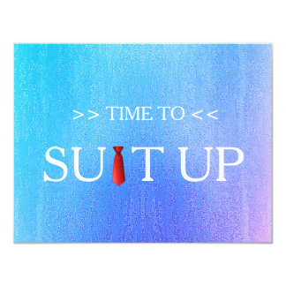 Time to Suitup Blur Background Red Tie Card