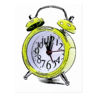 Time to Wake Up Yellow Alarm Clock Drawing Postcard