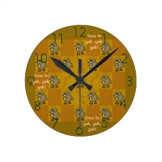 """Time to yak, yak, yak"" wall clock"