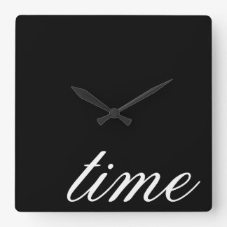 Time Typography Black and White Minimalistic Square Wall Clock