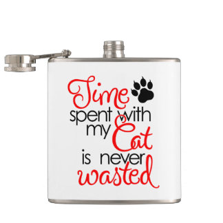 TIme With Cat Hip Flask